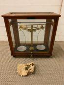 An Oak cased set of scientific scales by L.Oertling Ltd.