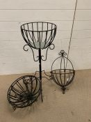 A selection of wrought iron hanging baskets