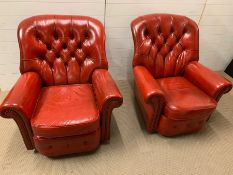 A pair of Mid Century red leather button back chairs