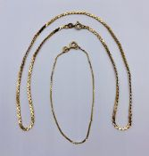 A 9ct gold necklace and a 14ct bracelet Total weight 6.1g