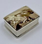 A silver and enamel lidded pill box