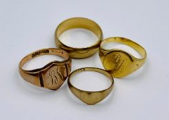 Four 9ct gold rings (Total weight 17.4g) Sizes V, S, M
