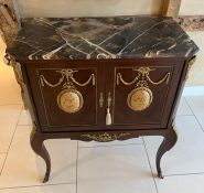 A French Louis style marble top cabinet on stand, decorated with foliate and figural mounts,
