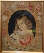 An antique Victorian needlepoint tapestry within a frame, c.1860s, (59x48 cm).