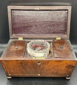 A Mahogany Tea caddy with mother of pearl decoration and glass mixing bowl.