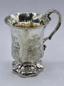 A silver engraved tankard, engraving dated 1845, with indistinct Victorian hallmark. Makers mark for