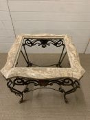 A Silik classic rectangular baroque coffee table - the glass top and Persian marble bottom is