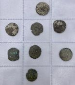 A selection of eight coins to include Genoise Denier Famagusta 1372-1469 x 3, Venetian Carzie