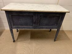 A painted wash stand with marble top (H76cm W109cm D47cm)