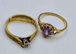 Two 9ct gold rings (Total weight 3.7g) Size M
