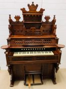 A vintage pipe organ in a mahogany case by O'Nicklin and Sons (H190cm W114cm D60cm)