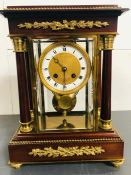 A Late 19th Century mahogany and Ormolu Four glass mantel clock with eight day striking movement