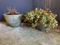 A pair of ribbed planters (H31cm)