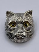 A Silver Cat brooch, pendant in the Louis Wain style