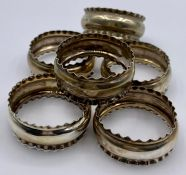 A set of six, hallmarked silver napkin rings (35g)