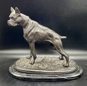 After Pierre-Jules Mêne, a modern patinated cast bronze model of a boxer dog raised on a stepped