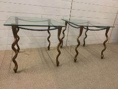 A pair of square glass side table on bronzed/gilt twisted legs (H56cm Sq61cm)