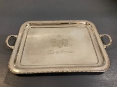 """A Brissi two handled tray in scripted """"Le Manior"""" (46cm x 29cm)"""