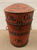 A vintage six gallon oil cabinet/can with its original dip stick and pump brass top (H56cm)