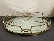 A deco style mirrored oval tray (H9cm W55m D48cm) )