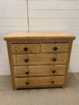 Two over three pine chest of drawers (H90cm W93cm D40cm)