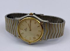 A Ladies Classic wave Ebel watch in stainless steel with Roman numerals and graduated wave