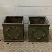 Two plaster square garden pots (H24cm Sq24cm)