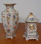 A very special group of hexagonal vase and matching clock of 'One handred flowers', by Dawen