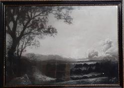 "In the manner of Aert van der Neer, ""Moonlight Landscape"", signed: 'WJ Stubbs RA' and illegibly"