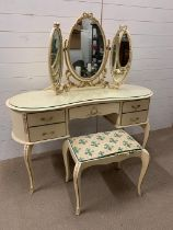 A dressing table with a stool and a dressing table mirror (H74cm W130cm D50cm)