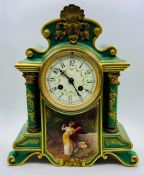 A Mid 19th Century French eight day mantle clock, front porcelain plaque is signed O Meisel.