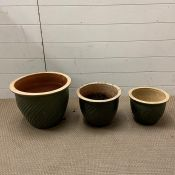 Three green twisted pattern garden pots