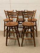 Five tall kitchen bar stools (H103cm seat H69cm)