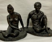 Two bronze style nudes signed AL 88