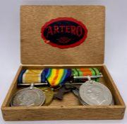 Medal Bar M2 079784 PTE J W Barnes A.S.C. British War Medal, Victory Medal, WWII Defence Medal and