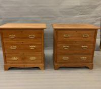 A pair of pine chest of three drawers on bracket feet (H84cm W84cm D50cm)