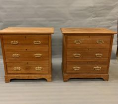 A pair of pine chest of three drawers on bracket feet (H84cm W84cm D50cm)