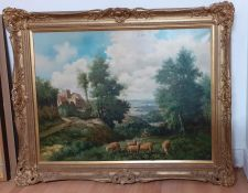 A 20th century Continental school, 'Landscape with shepherd and flock', signed 'C.Hermans' lower
