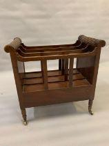 A mahogany Canterbury magazine rack