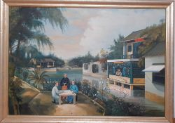 Edgar S. Nucum (XX), 'Chinese scene', signed lower right, oil on canvas, framed, (46x65 cm).