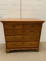 19th century walnut chest of drawers (H89cm W95cm D44cm)