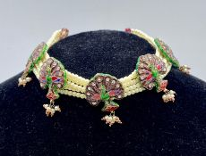 An Indian cultured pearl and enamel necklace