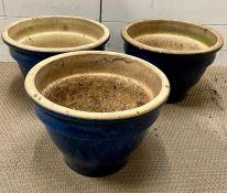 Three glazed blue garden pots (H28cm Dia40cm)