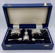 A Boxed silver cruet set, hallmarked Birmingham 2006 marked B & Co.