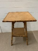 Bamboo and wicker top square side table (H66cm Sq46cm)