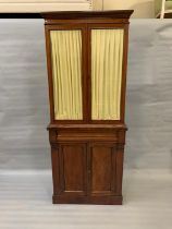 A mahogany glazed curtain bookcase with drawer and cupboard under (H190cm W77cm D34cm)