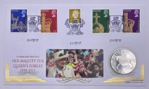 The Queen Elizabeth II Sapphire Jubilee 1977 Silver Proof Crown Cover