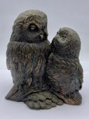 Bronze effect pair of owls on branch