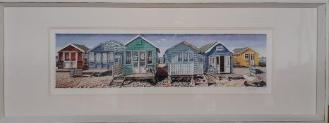 Alastair Howie, 'Beach Huts, Mudeford', limited edition colour print, signed, numbered 246/650 and