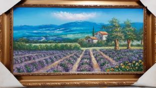 Continental school 21st century, 'Provencal landscape', illegibly signed, oil on canvas, within an